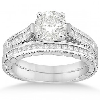 Princess Cut Channel Diamond Bridal Set in 14k White Gold (0.38ct)