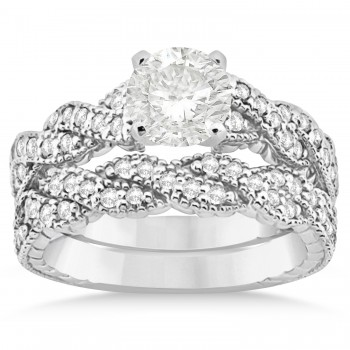 Diamond Braided Bridal Set Setting 14k White Gold (0.44ct)