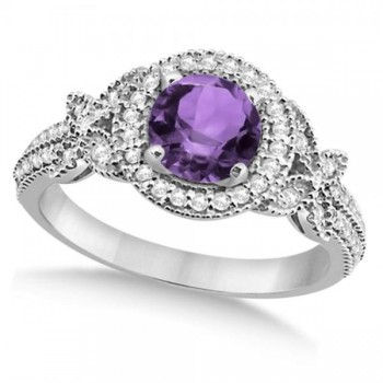 Halo Diamond Butterfly Amethyst Engagement Ring 14k White Gold (1.33ct)