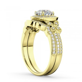 Butterfly Diamond Engagement Ring & Wedding Band 14k Yellow Gold (0.58ct)