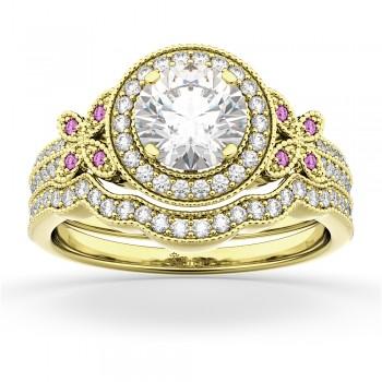 Butterfly Diamond & Pink Sapphire Engagement Set 18k Yellow Gold (0.50ct)