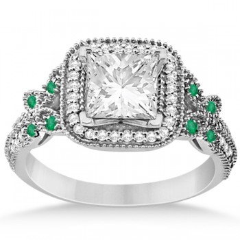 Emerald Square-Halo Butterfly Engagement Ring Platinum (0.34ct)