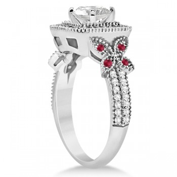 Butterfly Square Halo Ruby Engagement Ring Palladium (0.34ct)