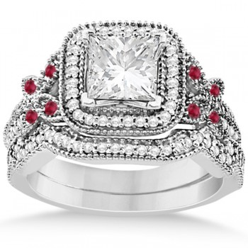 Ruby Square Halo Butterfly Bridal Set Platinum 0.51ct