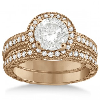 Filigree Halo Engagement Ring & Wedding Band 14kt Rose Gold (0.50ct.)