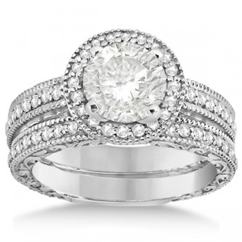Filigree Halo Engagement Ring & Wedding Band 14kt White Gold (0.50ct.)