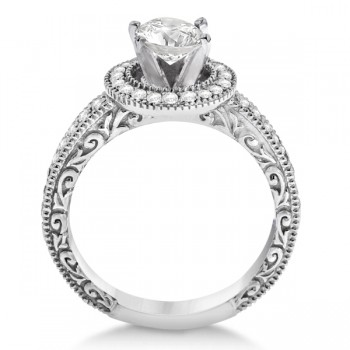 Filigree Halo Engagement Ring & Wedding Band Palladium (0.50ct.)