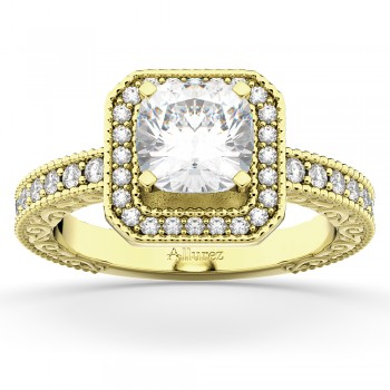 Milgrain Square Halo Diamond Engagement Ring 14kt Yellow Gold (0.32ct)