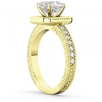 Milgrain Square Halo Diamond Engagement Ring 14kt Yellow Gold (0.32ct)