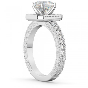 Milgrain Square Halo Diamond Engagement Ring 18kt White Gold (0.32ct.)