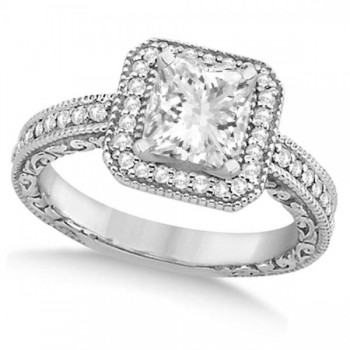 Milgrain Square Halo Princess Cut Bridal Set 14k White Gold (1.20ct)