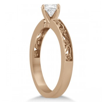 Flower Carved Solitaire Engagement Ring Setting 14kt Rose Gold