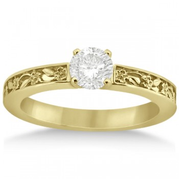 Flower Carved Solitaire Engagement Ring Setting 14kt Yellow Gold