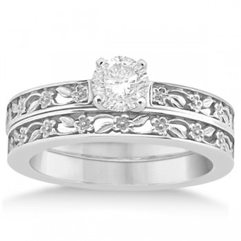 Flower Carved Solitaire Engagement Ring & Wedding Band 18kt White Gold