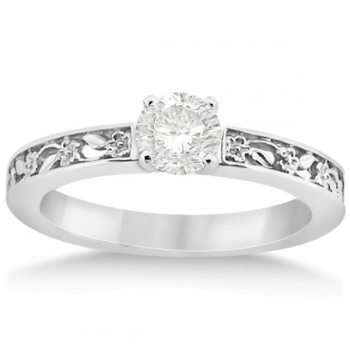 Flower Carved Solitaire Engagement Ring & Wedding Band Palladium