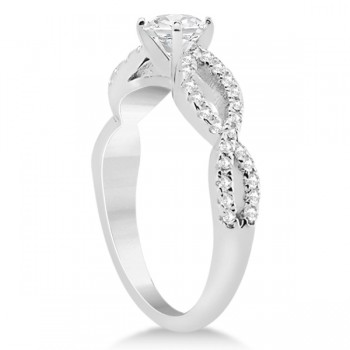 Diamond Twist Infinity Engagement Ring Setting 14K White Gold (0.40ct)