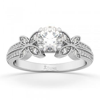 Butterfly Milgrain Diamond Engagement Ring