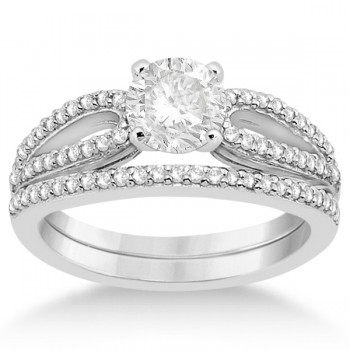 Cathedral Split Shank Diamond Ring & Band Set 14K White Gold (0.35ct)