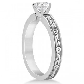 Hand-Carved Flower Design Solitaire Engagement Ring in 14k White Gold