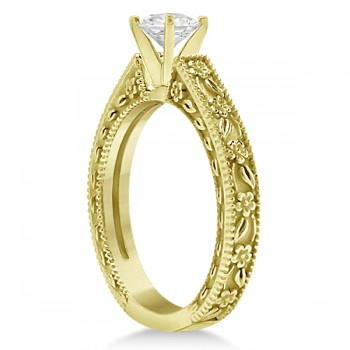 Carved Flower Solitaire Engagement Ring Setting in 18K Yellow Gold