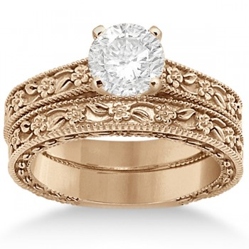 Carved Floral Wedding Set Engagement Ring & Band 18K Rose Gold