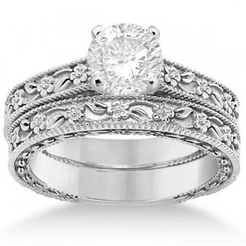 Carved Floral Wedding Set Engagement Ring & Band 18K White Gold