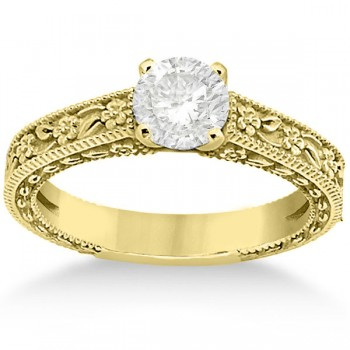 Carved Floral Wedding Set Engagement Ring & Band 18K Yellow Gold