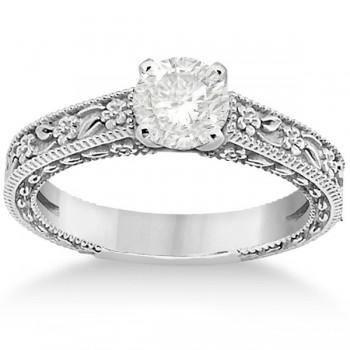 Carved Floral Wedding Set Engagement Ring & Band Platinum
