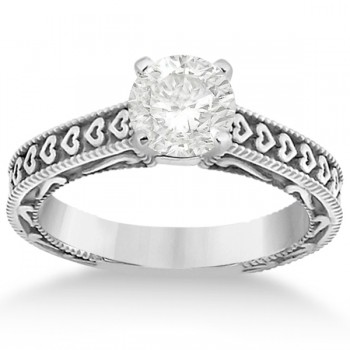 Carved Engagement Ring with Wedding Band Bridal Set in 14K White Gold