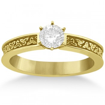 Carved Celtic Solitaire Engagement Ring Setting in 14K Yellow Gold
