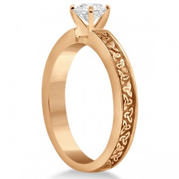 Carved Celtic Solitaire Engagement Ring 18K Rose Gold