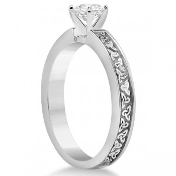 Carved Celtic Solitaire Engagement Ring in18K White Gold