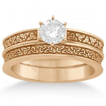 Carved Irish Celtic Engagement Ring & Wedding Band Set 14K Rose Gold