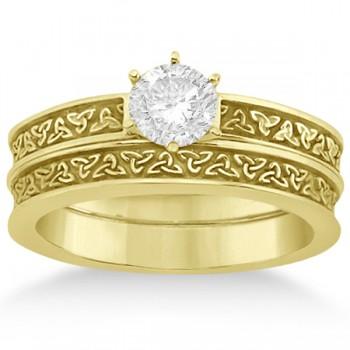 Carved Irish Celtic Engagement Ring & Wedding Band Set 14K Yellow Gold