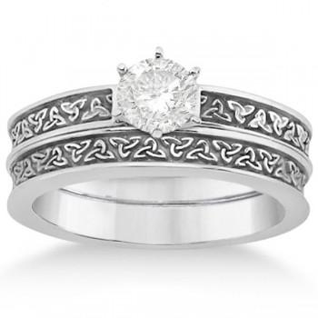 Carved Irish Celtic Engagement Ring & Wedding Band Set 18K White Gold