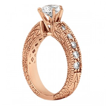0.70ct Antique Style Diamond Engagement Ring Setting 14k Rose Gold