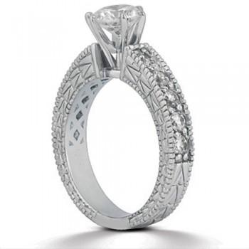 0.70ct Antique Style Diamond Engagement Ring Setting 18k White Gold
