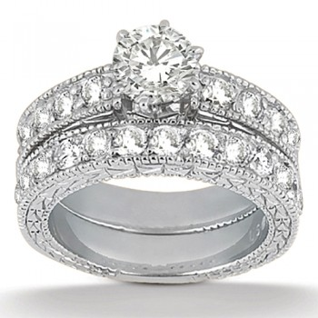 Antique Diamond Engagement Ring & Wedding Band 14k White Gold (1.70ct)
