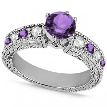 Diamond & Amethyst Vintage Engagement Ring in 14k White Gold (1.75ct)