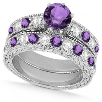 Diamond & Amethyst Vintage Wedding Bridal Set in 14k White Gold (2.80ct)