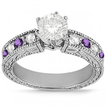 Antique Diamond & Amethyst Engagement Ring Palladium (0.75ct)
