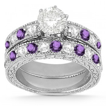 Antique Diamond & Amethyst Bridal Set 14k White Gold (1.80ct)
