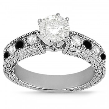 Antique White & Black Diamond Engagement Ring 14k White Gold (0.75ct)