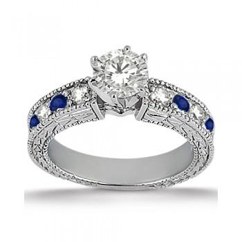 Antique Diamond & Blue Sapphire Engagement Ring 14k White Gold (0.75ct)