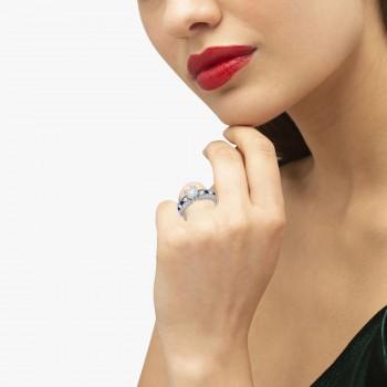 Antique Diamond & Blue Sapphire Engagement Ring Platinum (0.75ct)