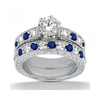 Antique Diamond & Blue Sapphire Bridal Set Palladium (1.80ct)