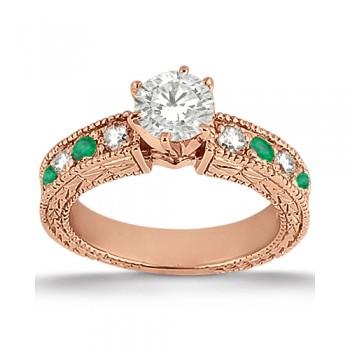 Antique Diamond & Emerald Engagement Ring 18k Rose Gold (0.72ct)