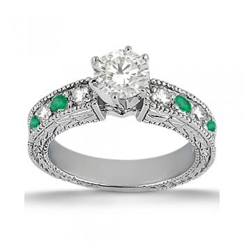 Antique Diamond & Emerald Engagement Ring 18k White Gold (0.72ct)