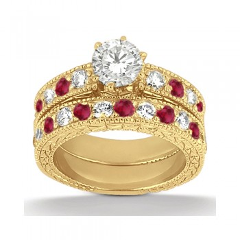Antique Diamond & Ruby Bridal Set 14k Yellow Gold (1.80ct)
