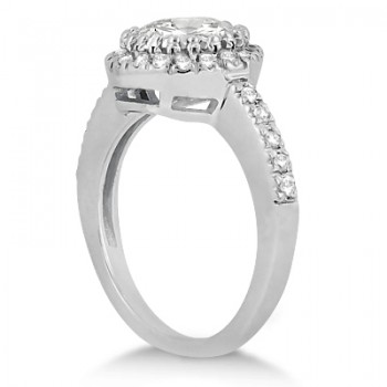 Pave Halo Diamond Engagement Ring Setting 14k White Gold (0.35ct)